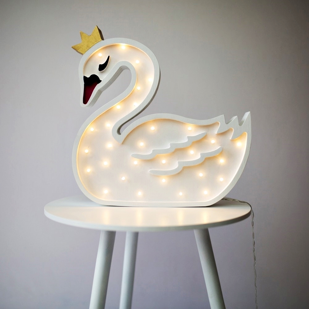 labuť pri zapálenom svetle - Detská dekoračná lampa Labuť