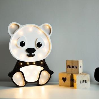 detská lampička panda - sivá