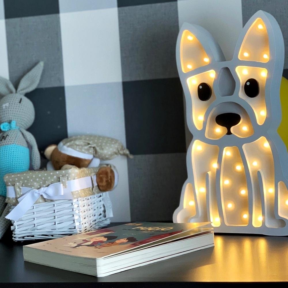 lampa buldog biela + sivá - Detská dekoračná lampa Buldog