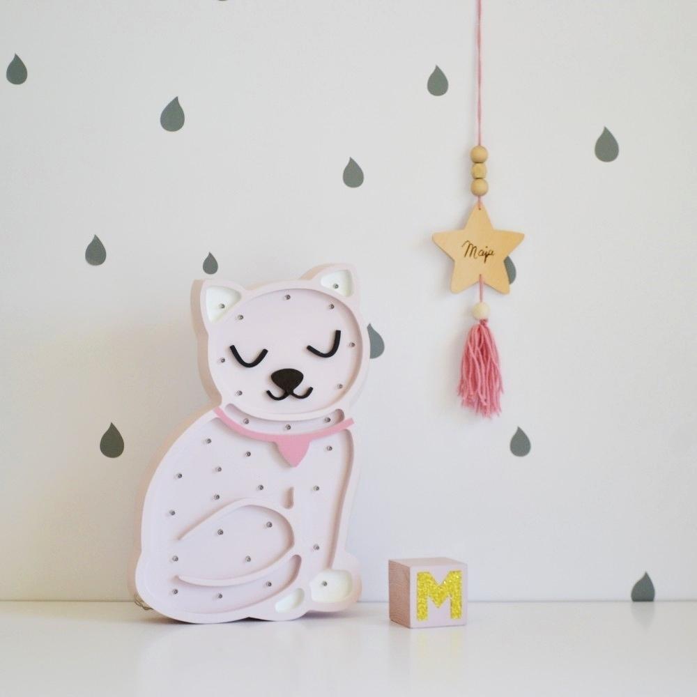 mačička - biela - Detská dekoračná lampa Mačička