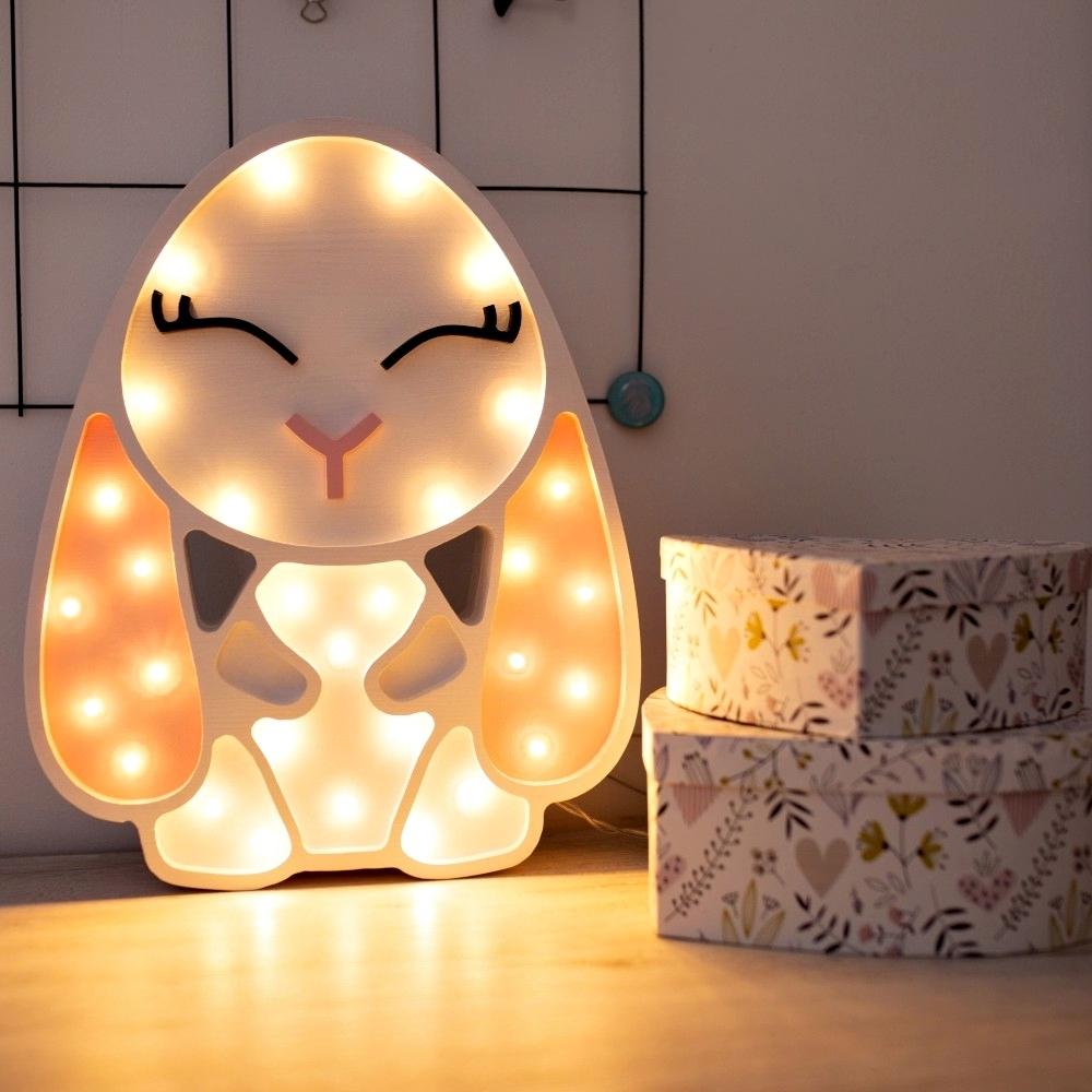 biela + ružová - Detská dekoračná lampa Zajačik