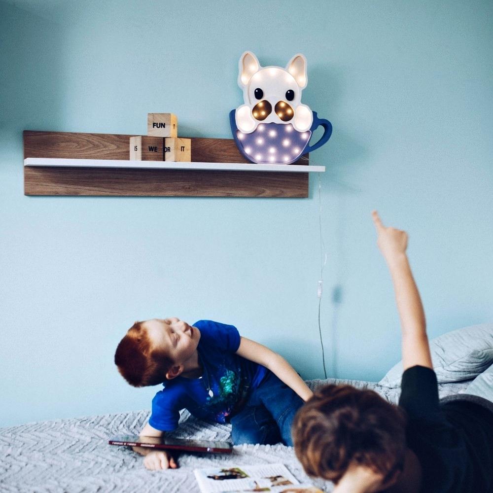 psík v šálke - tmvomodrá - Detská dekoračná lampa Psík v šálke