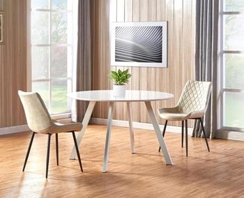 stôl biely kov + biely lesk , stoličky - čierny kov + krémová ekokoža
