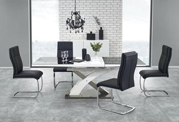 biela + čierne sklo - stôl v rozloženom stave
