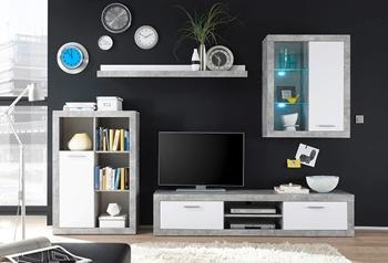 betón + biela - Obývacia stena KLARK + LED