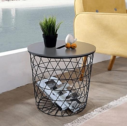 čierny kov + plát grafit - Príručný / konferenčný stolík BATIS