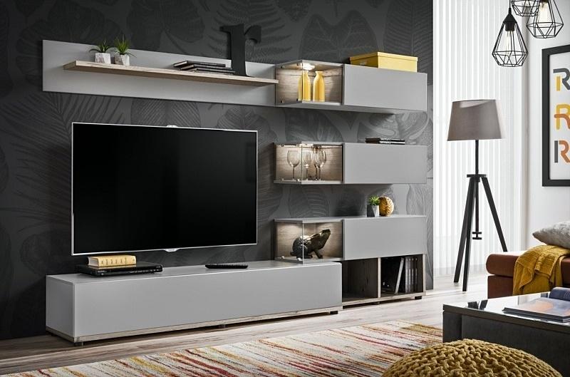 perla grey + dub wellington (28 DWPG SK) - Obývacia stena SILK + LED