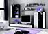 biela + čierny lesk  - Obývacia stena CANES NEW + LED